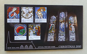 2015-NEW-ZEALAND-CHRISTMAS-STAINED-GLASS-SET-OF-5-STAMPS-FDC-FIRST-DAY-COVER