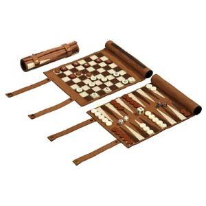 Juego Para Viajes Ajedrez Backgammon Y Set Mujer Enrollado Ebay