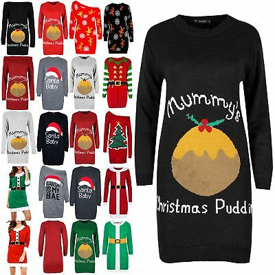 Ladies Womens Mummy/'s Pudding Full Sleeves Knit Oversized Christmas Mini Jumper