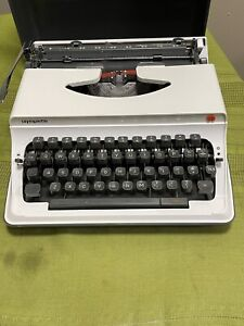 Olympia Olympiette Portable Typewriter With Case Cover Working, Vintage/ White