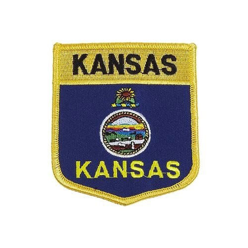 KANSAS USA STATE SHIELD FLAG EMBROIDERED IRON-ON PATCH CREST BADGE . NEW