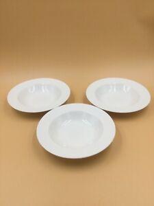 Set-of-3-Rim-Soup-Bowls-9-034-by-Oneida-Wicker-White-Basketweave-Stoneware-Classic