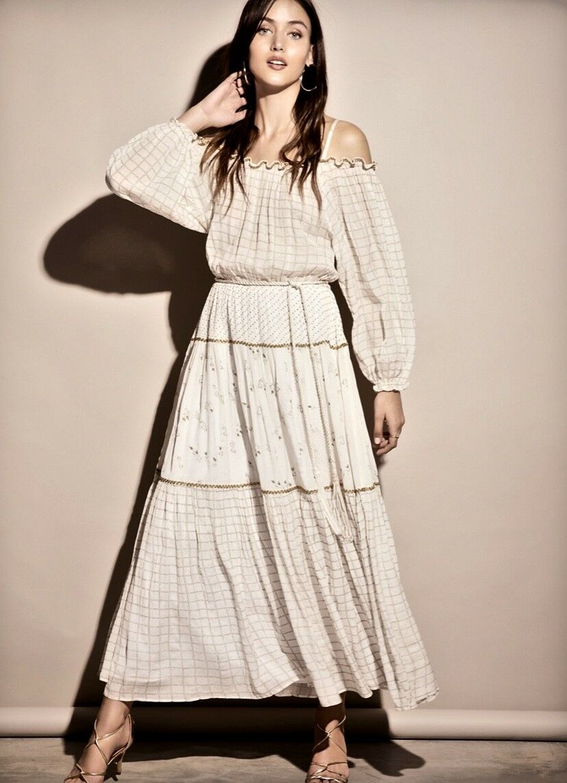 NEW Free People ivory gold Drapy Peasant Mix Print Off The Shoulder Maxi Dress S