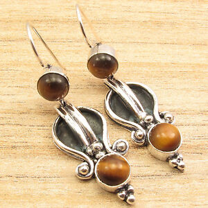 925-Silver-Plated-Over-Solid-Copper-TIGER-039-S-EYE-2-Gem-HANDCRAFTED-Earrings-2-034