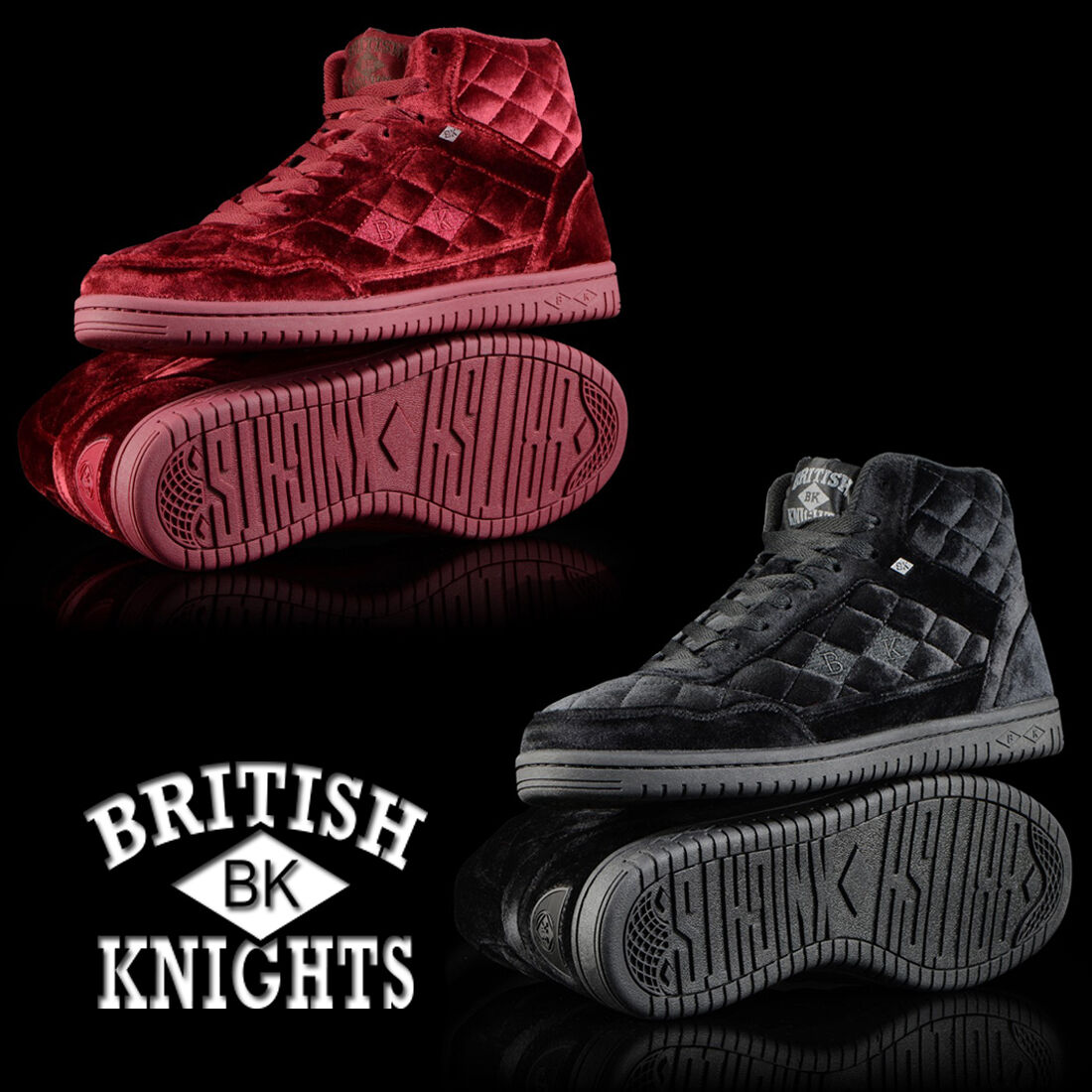 cc52c91cd119 NEW AUTHENTIC BRITISH KNIGHTS VELVET · QUILTS HIGH TOP SHOE