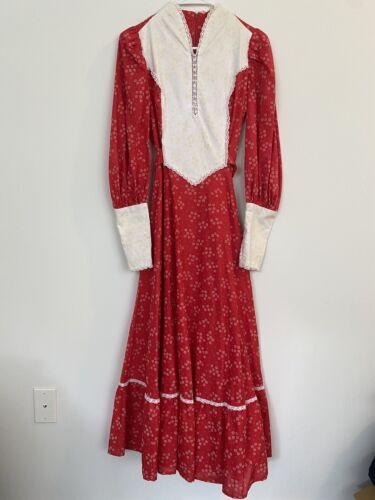 1970s Vintage Gunne Sax Style Red Maxi Dress