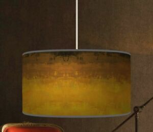 Image Is Loading Brown Yellow Ombre Handmade Lampshade Fabric Pendant Drum