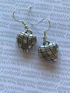 Brighton-PATCHWORK-QUILT-HEARTS-Dangle-Bead-French-Wire-Custom-Silver-Earrings