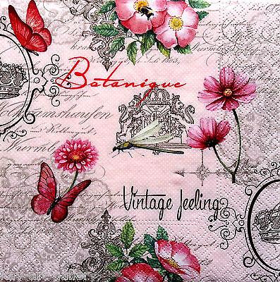 4 x Single Vintage Table Paper Napkins /for Decoupage / CRAFT/ feelings / LUXURY