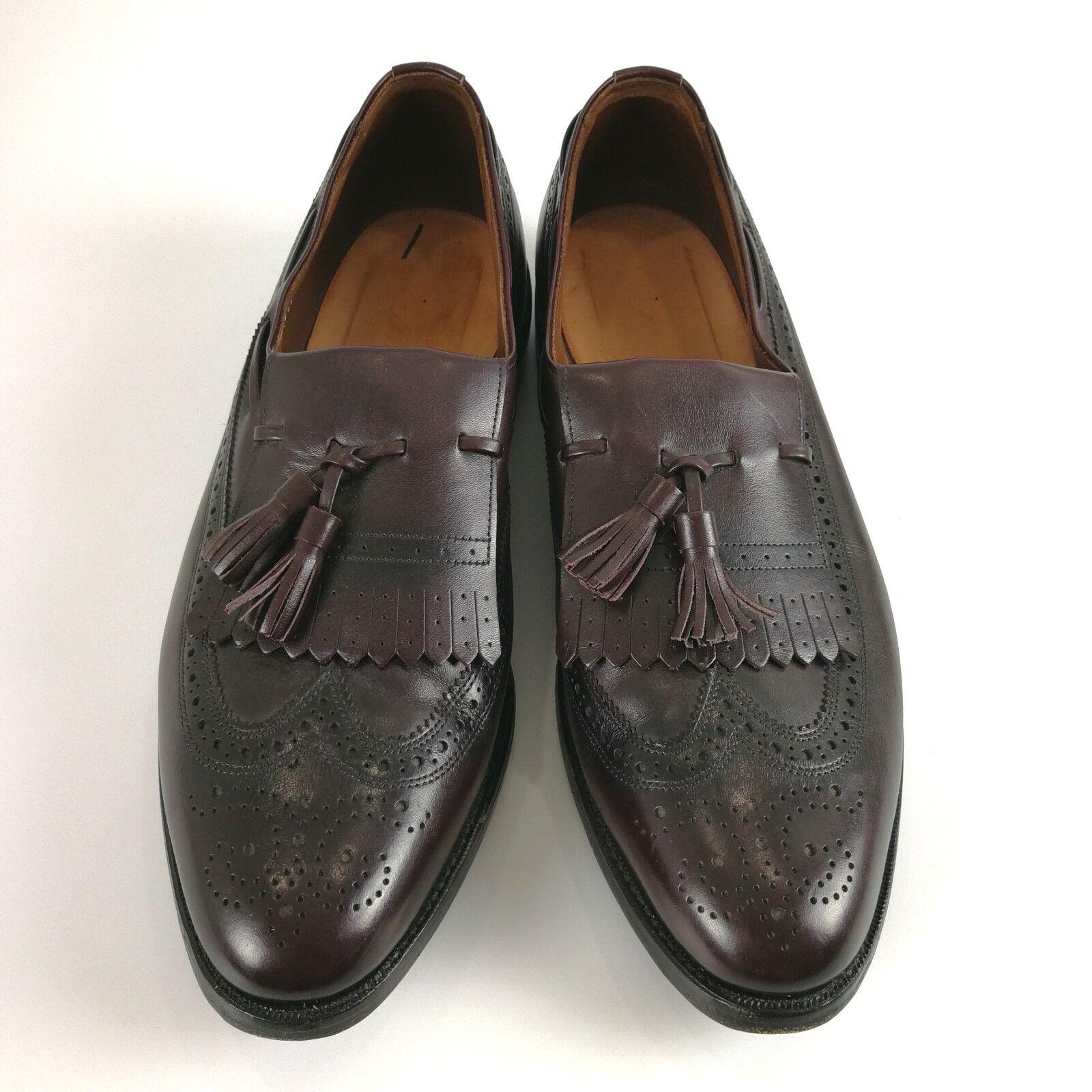Allen Edmonds Arlington Burgundy Brogue 11.5 C Leather Tassel Loafers