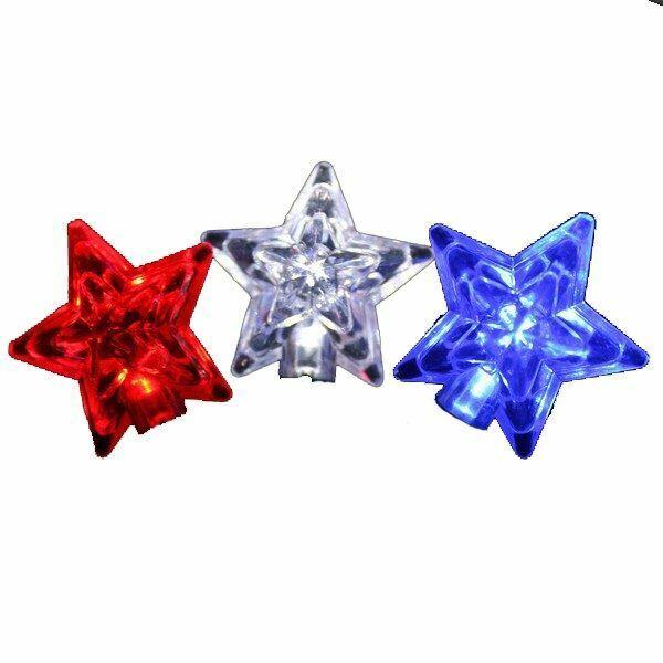 Red, White, Blue LED Star Light Strings - 35 Lights