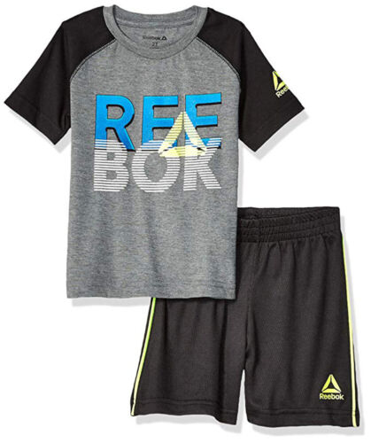 Reebok Boys Black /& Charcoal Top 2pc Short Set Set Size 2T 3T 4T 4 5 6 7