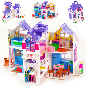 puppenhaus mit m bel puppenstube zubeh r einrichtung spielhaus 2 etagen kp9142 ebay. Black Bedroom Furniture Sets. Home Design Ideas