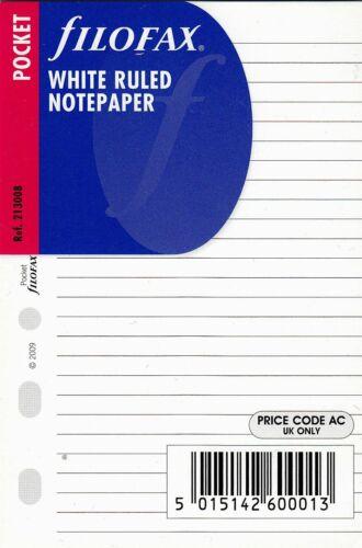 Filofax Pocket A7 Organizer Einlagen Notizpapier LINIERT weiß 25 Blatt 213008