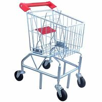 Toys Kids Metal Shopping Cart With Folding Seat, Toddler Preschool Play Toy on sale
