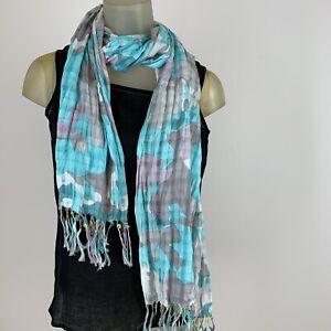 Banana-republic-women-s-Fashion-scarf-Wrap-cotton-blue-gray-pattern-17-034-x-70-034