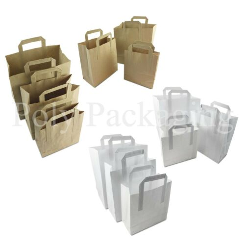 BROWN//WHITE PAPER CARRIER BAGS*All Sizes//Any Qty*with HANDLES Party//Gift//Food
