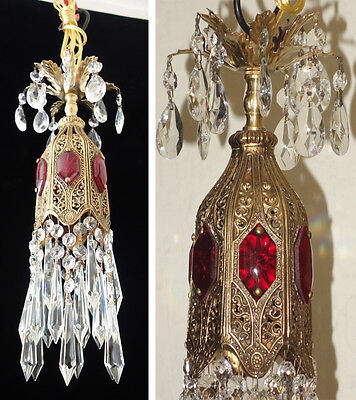 1o6 Ruby jeweled Tulip filigree Icicle Crystal lamp Vintage chandelier brass spe
