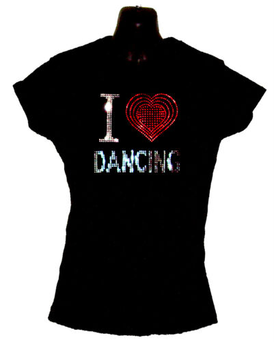 8 to 18 I LOVE DANCING LADIES FITTED T SHIRT WITH RHINESTUD DESIGN