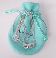 Tiffany & Co. Sterling Silver Infinity Figure 8 Double Chain Necklace with Pouch