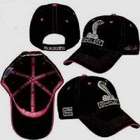 Ladies Shelby Cobra Ford Mustang Hat/cap Black And Pink Embroidered Cobra