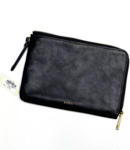 Fossil-Carrie-Black-Leather-Wristlet-Bag-NWT