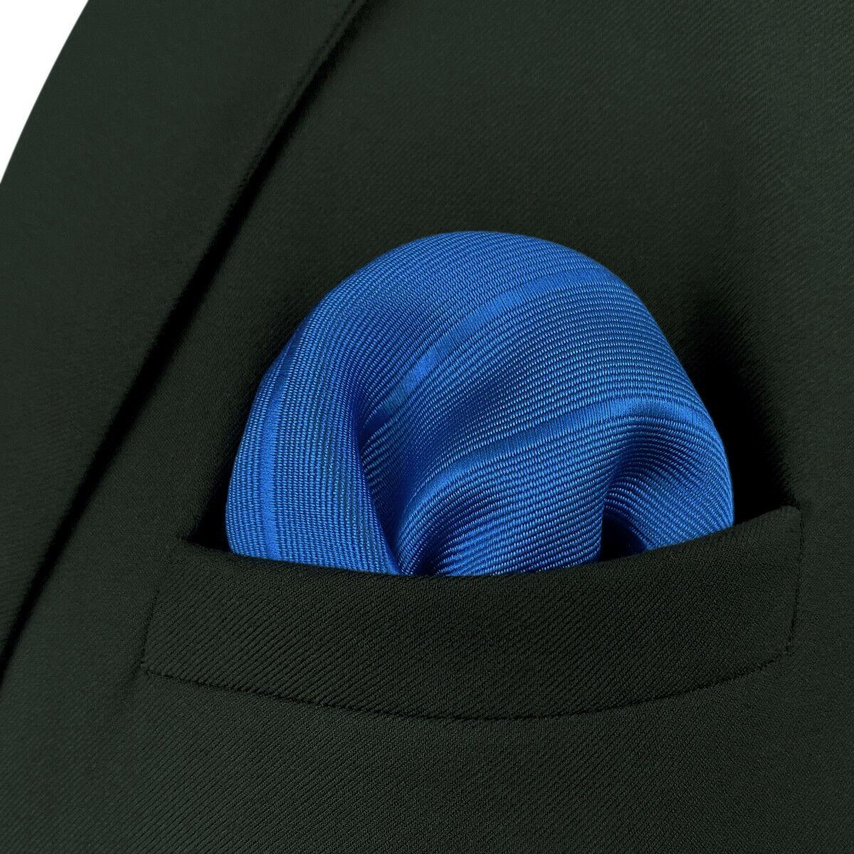 S&W SHLAX&WING Pocket Squares for Men Solid Color Royal Blue Striped Dark Fringe