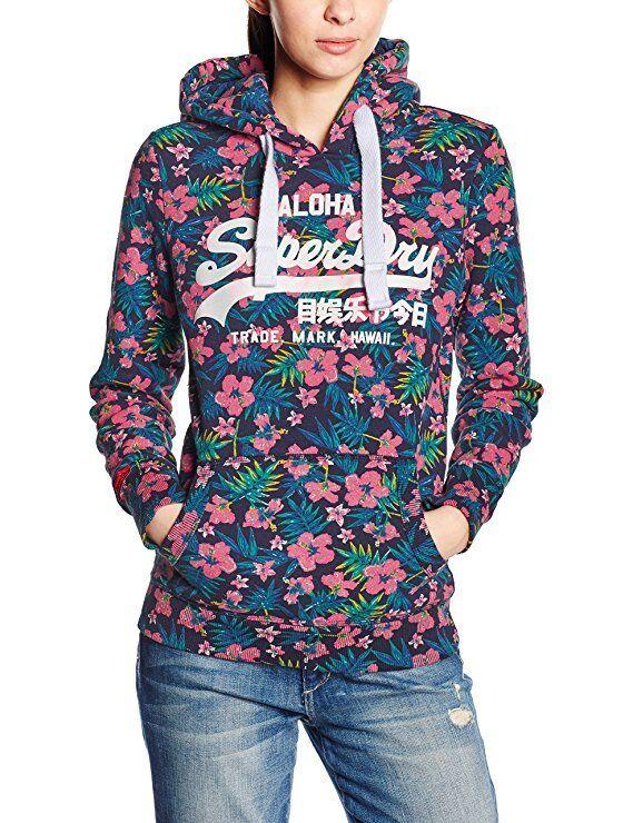 Superdry Womens Vintage Hoodie Tropical Aop Sweatshirt Pink Ship internationally