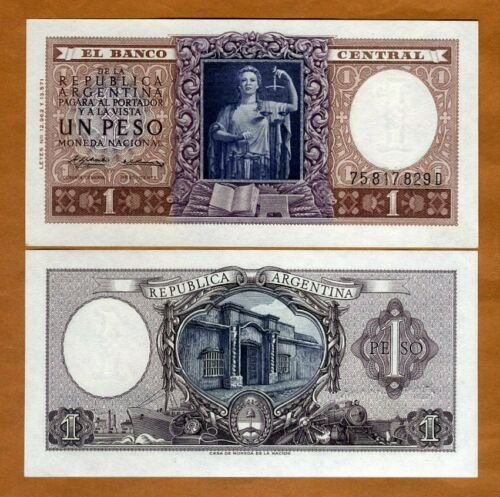 1 Pesos P-263b UNC /> Over 60 years old 1956 Argentina ND Lady Justice