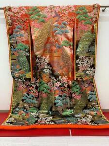 Uchikake Kimono Japanese Wedding Robe Embroidery Crain Design L Size Gold F/S