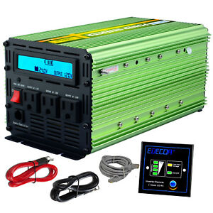 Details about EDECOA Car Power Inverter 2000W 4000W 24V dc to120V ac with  LCD Cables Remote RV