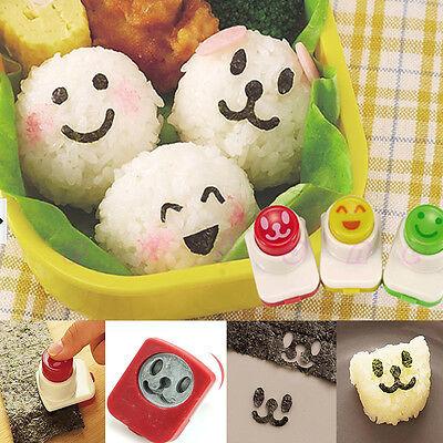 3PCS Smile Cute Sandwich DIY Tool Nori Sushi Rice Mold Decor Bento Cutter Maker
