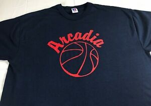Arcadia-Basketball-T-Shirt-VTG-Mens-Large-Coach-USA-Made-Russell-Athletic-Tee