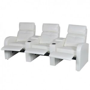Details about Home Cinema Reclining Sofa Set White 3 Seats Faux Leather TV  Recliners Furniture
