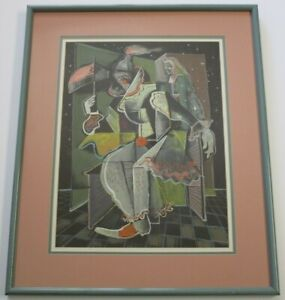 MARC-CHAGALL-PAINTING-HAND-COLORED-LITHOGRAPH-ABSTRACT-EXPRESSIONIST-MODERNIST