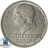 Weimarer Republik 5 Reichsmark Silber 1929 (vz) Mzz A- Gotthold Ephraim Lessing