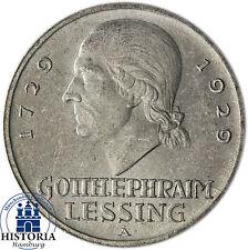 Weimarer Republik 3 Reichsmark Silber 1929 prf  Mzz A - Gotthold Ephraim Lessing