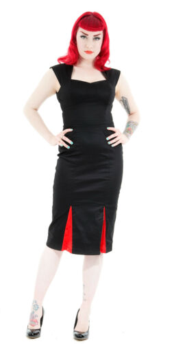 Black Red Detail Pleat New 40's 18 50's Pencil Dress Dita Vtg Wiggle Classic 8 xgpF5