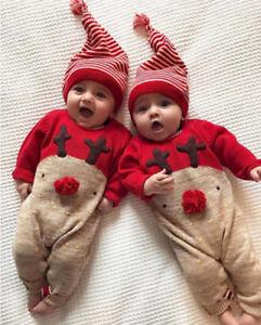 recien-nacido-Ninos-Bebes-Navidad-Nino-Nina-Ropa-Mono-GORRO-2-Piezas-Set