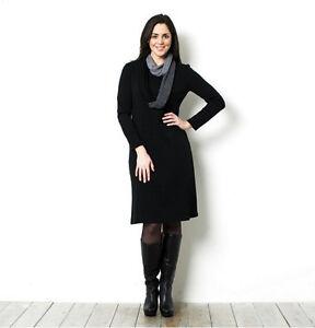 NINA LEONARD *Size UK Small* Long Sleeve Knitted Dress with Infinity Scarf Black