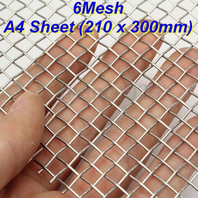 6 Mesh 316 Grade Stainless steel Woven Wire Super Heavy Duty A4 Sheet 21 x 30cm