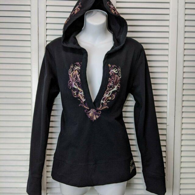 Harley Davidson Womens Large Pullover V-neck Hoodie Black tattoo skull Limited
