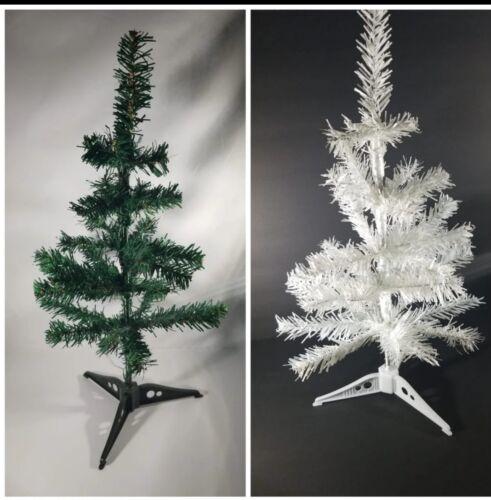 "2 Mini Christmas Tree Green /& White 18/"" Home Decor Ofice Tree Decorations"