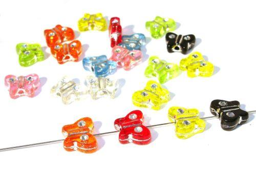 Acrylique plastique perles mix papillon strass 30 pcs #k86