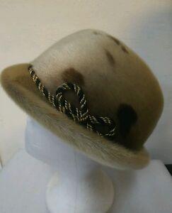 Size 7 very vintage '60s 70's Fur FEDORA Hat Hippie Boho Hipster street Chic