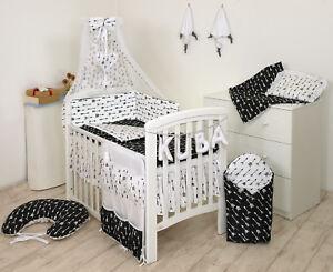 BLACK ARROWS BABY BEDDING SET COT COT BED 3,5,9 Pieces COVER BUMPER CANOPY+more
