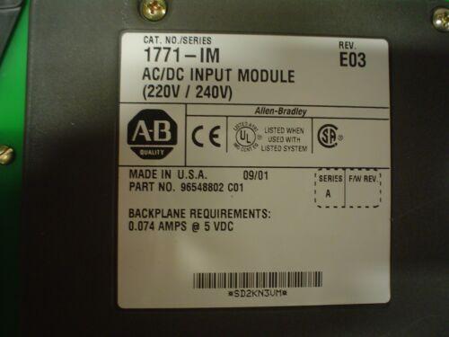 60 day warranty used 1771-IM AC//DC Input Module 220V-240V with wiring arm