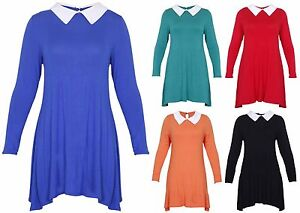 Womens-Contrast-Peter-Pan-Collar-Ladies-Swing-Flared-Mini-Short-Dress-Plus-Size