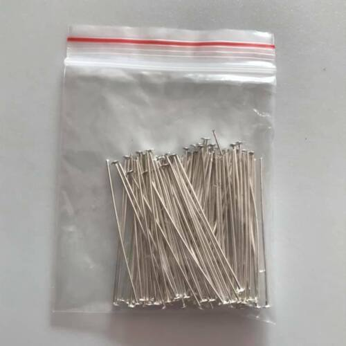 Straight silver plated head pins good quality headpins 40mm long 0.7mm thick