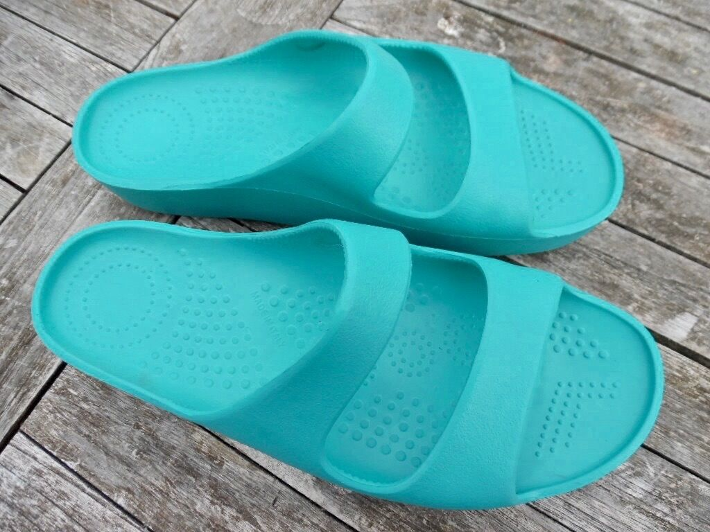 O.SHOES, MID TURQUOISE MULE SANDAL, PLATFORM MID O.SHOES, WEDGE, SIZE 41 913b6d